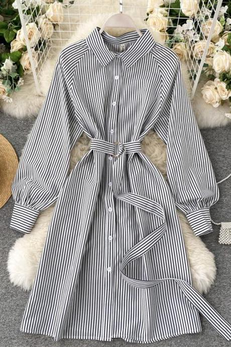 Simple black and white striped long sleeve dress