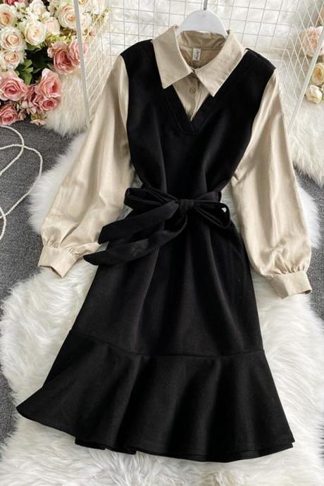 Stylish A line long sleeve dress