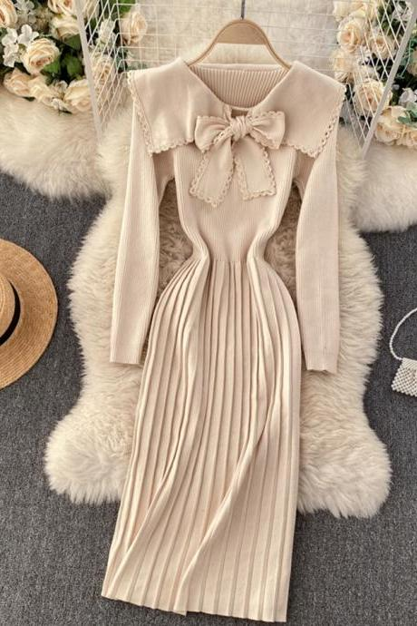 Lovely bow knitted dress long sleeve dress