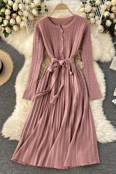 Simple long sleeve knitted dress sweater dress