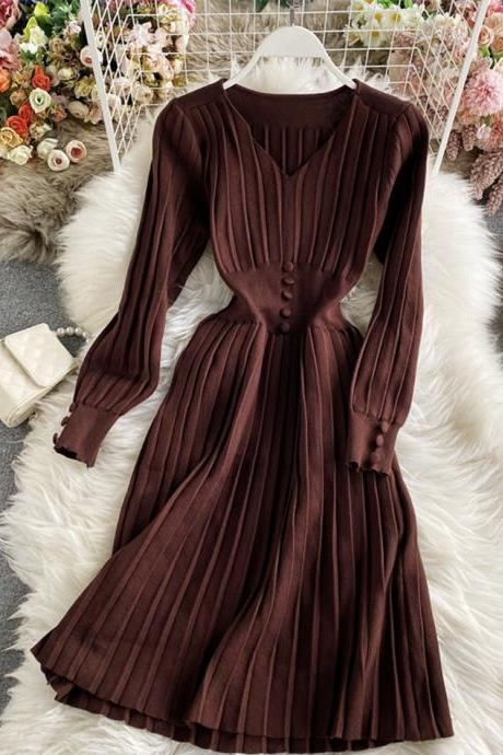Simple v neck knitted dress sweater dress