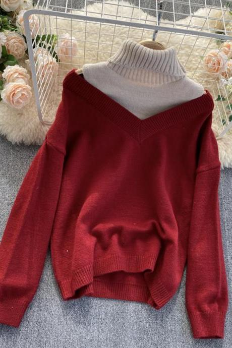 Stylish long sleeve sweater high neck sweater