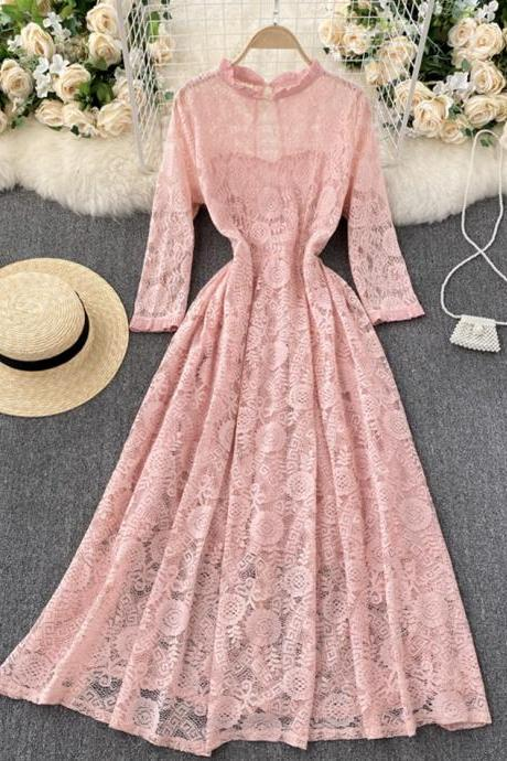 A line lace long dress simple dress