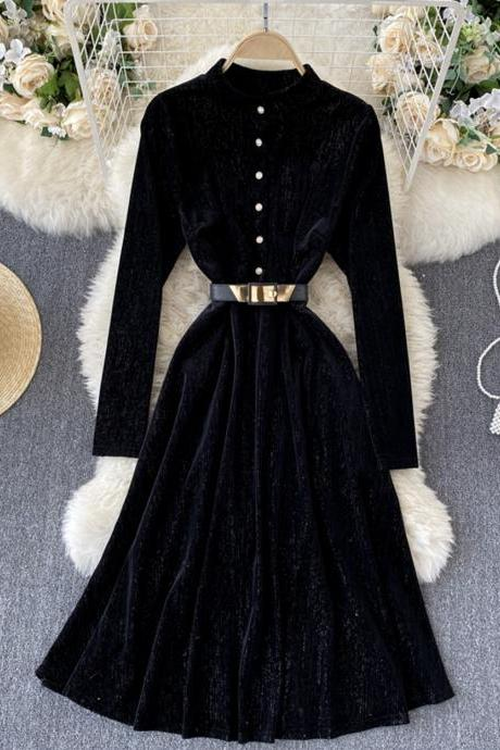 Elegant A line velvet dress long sleeve dress