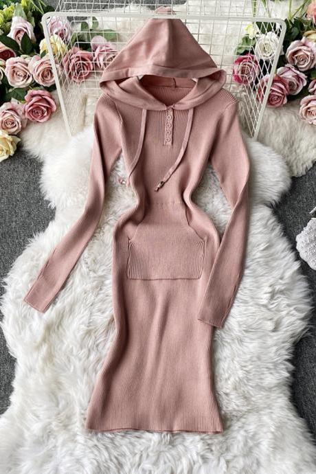 Knit dress stylish long sleeve hoodie