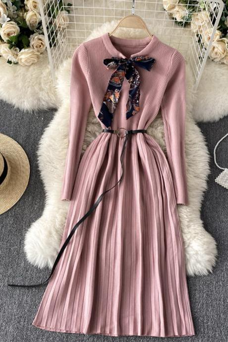Cute A line long sleeve sweater dress