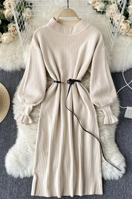 Simple A line long sleeve sweater dress