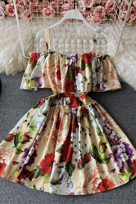 Sweet floral pattern short dress