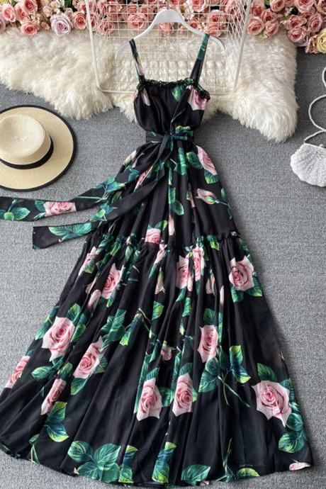 Stylish A line floral pattern dress