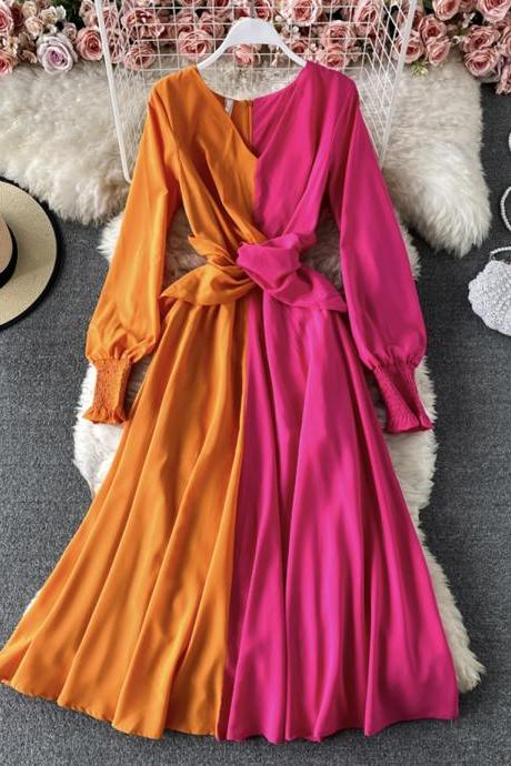 Unique color-blocking long-sleeved dress