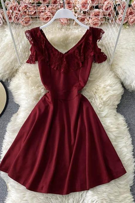 Red v neck short dress fashion dress
