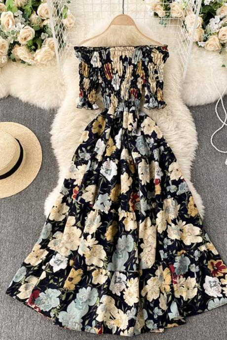 A line floral dress fashion dress