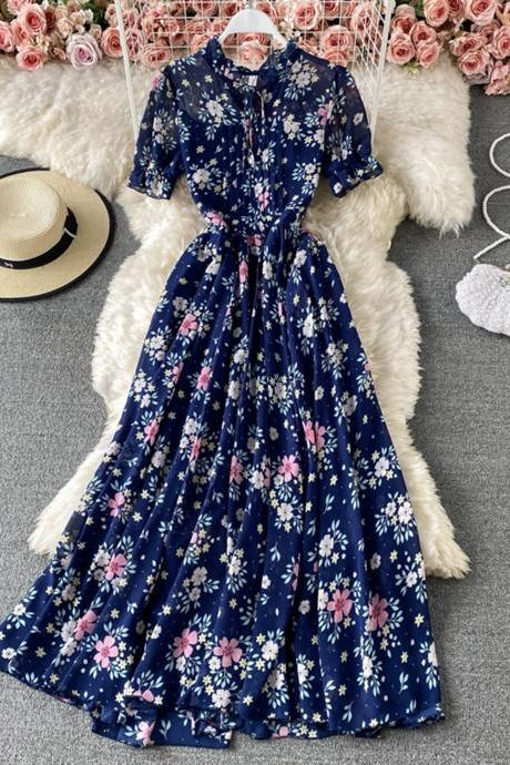 Cute A line floral dress fashion dress