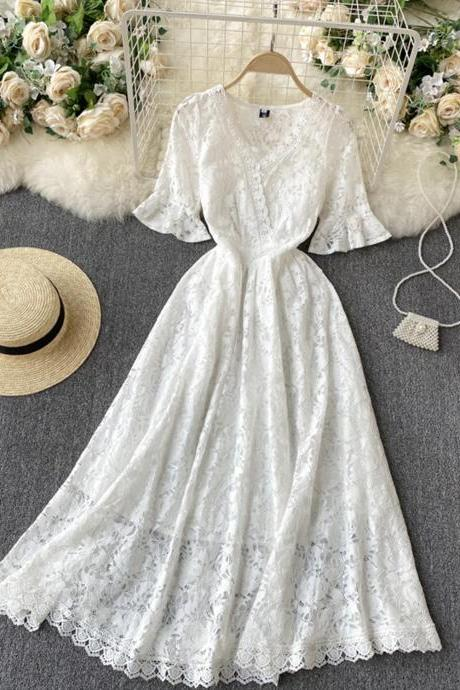 White A line lace v neck dress