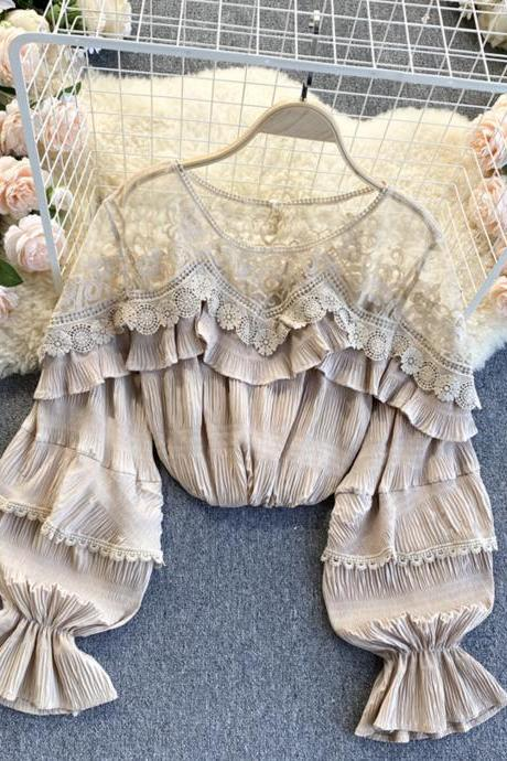 Stylish long sleeve tops see through lace tops