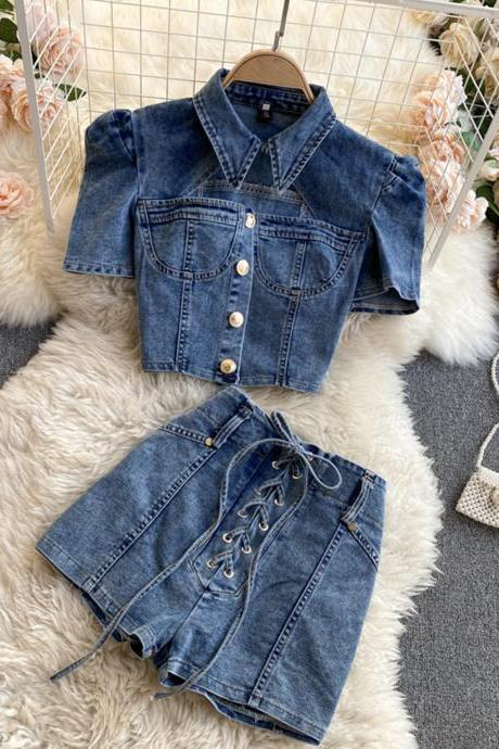 Stylish two-piece suit denim tops + short lace up shorts