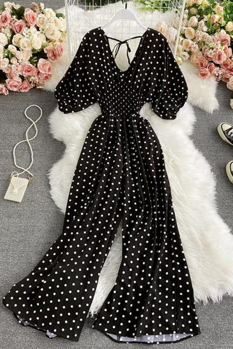 Stylish polka dot v neckline jumpsuit