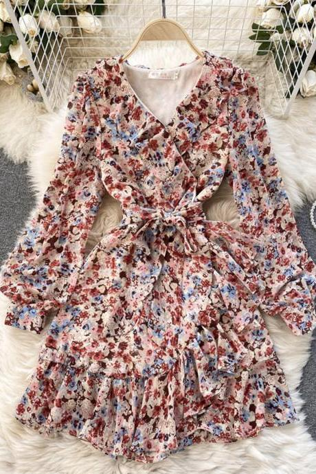 Cute v neck floral dress A line dress