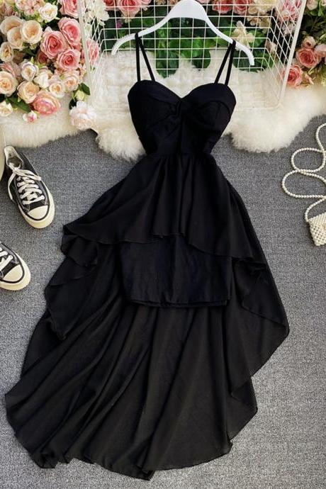 Black high low dress A line fashion dress
