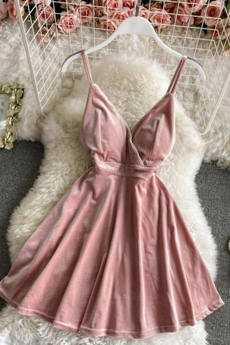 Cute velvet short dress A line mini dress