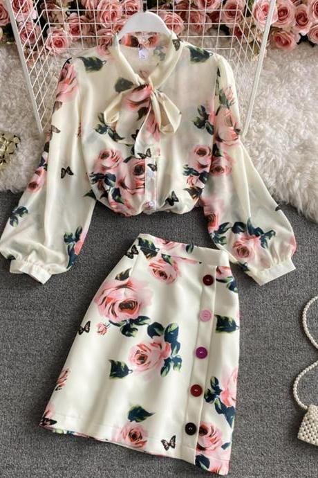Stylish two pieces sets floral top+ skirt