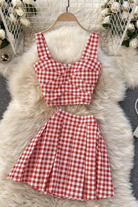 Stylish plaid two pieces sets