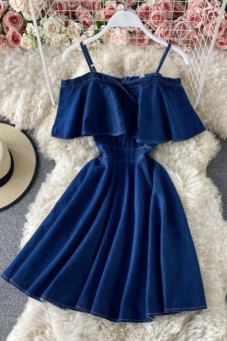 Blue denim off shoulder dress A line fashion dress
