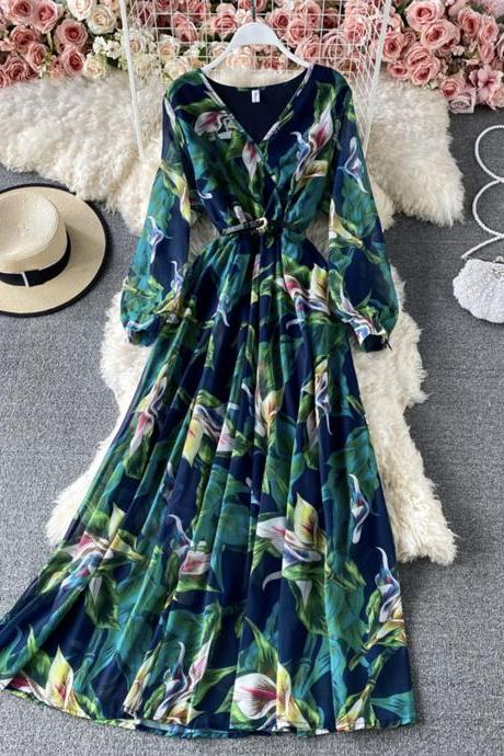 Stylish A line chiffon long sleeve dress