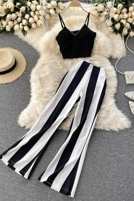Stylish two pieces sets striped suit
