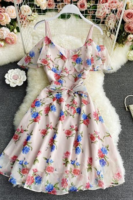 Cute A line chiffon v neck dress fashion dress
