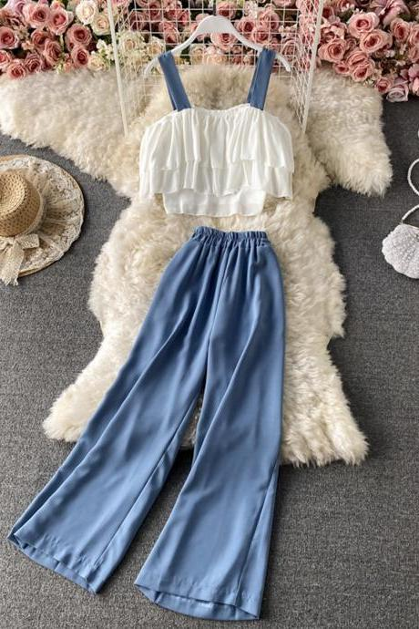 Stylish two pieces sets sling top + wide leg pants
