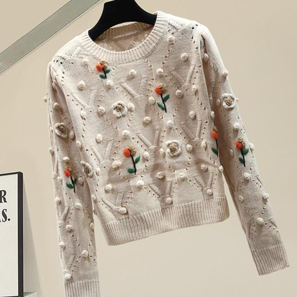 Cute round neck long sleeve sweater