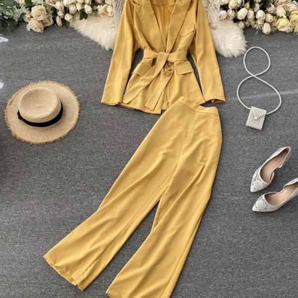 Ladies suit jacket + wide-leg pants two pieces sets