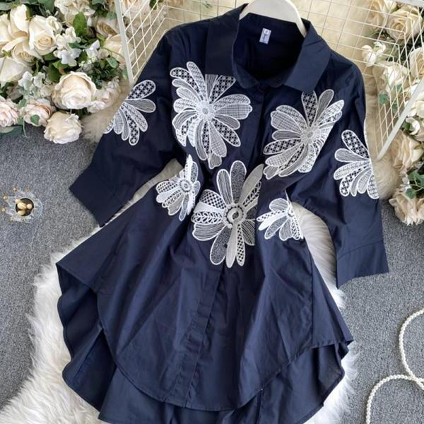 Blue lace applique tops