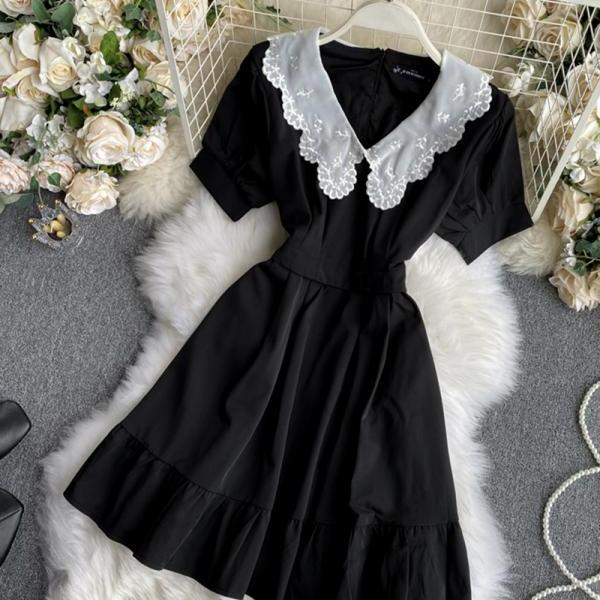 Black A line short dress fashion dress
