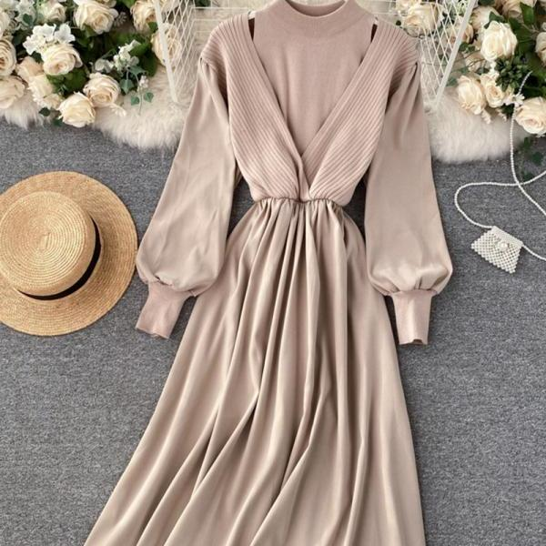 Unique A line long sleeve dress