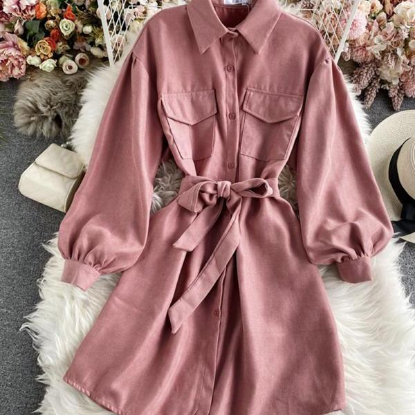 Simple long sleeve shirt dress