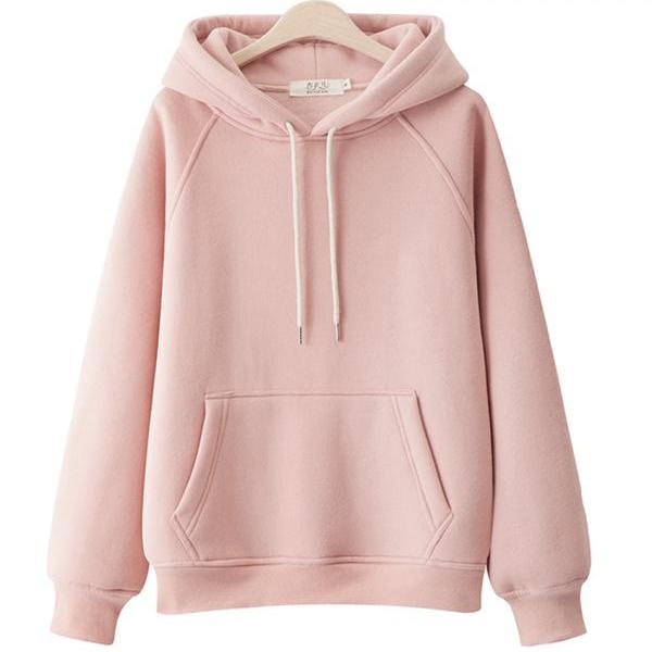 Hoodie simple loose plus fleece top