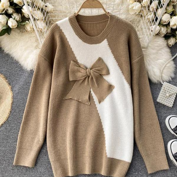 Cute bow knitted sweater dress