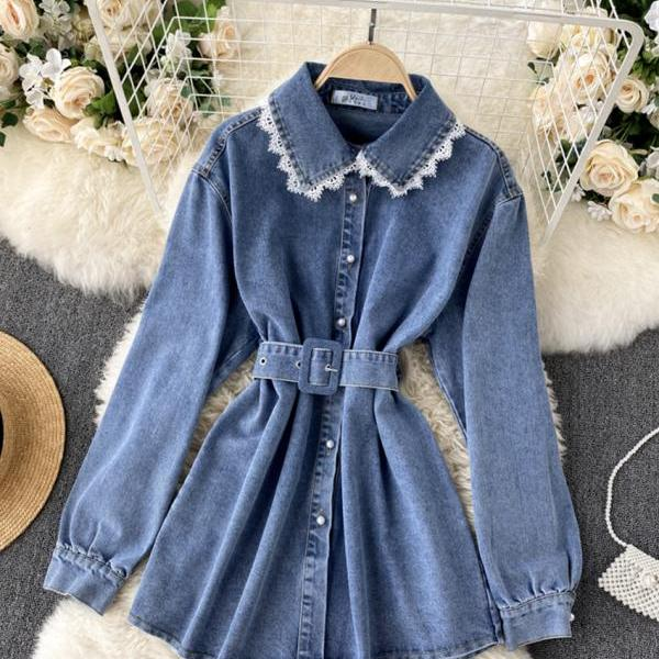 Stylish denim lace long sleeve top