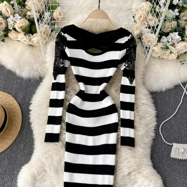 Sexy long sleeve knitted sweater lace panel sweater