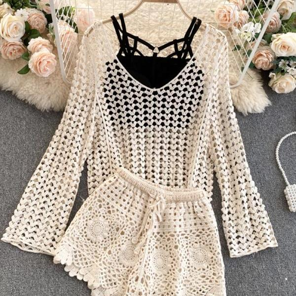Fashionable handmade hollow knit three-piece suit