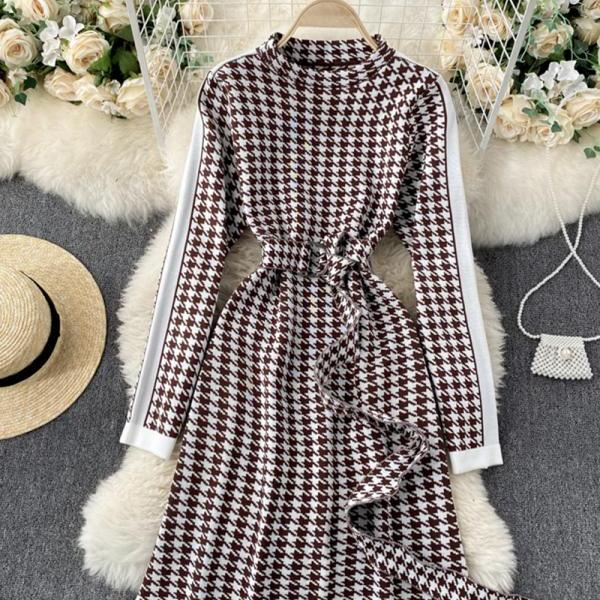 Knit dress retro houndstooth long sleeve dress
