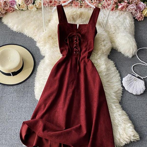 Cute lace-up dress A line dress
