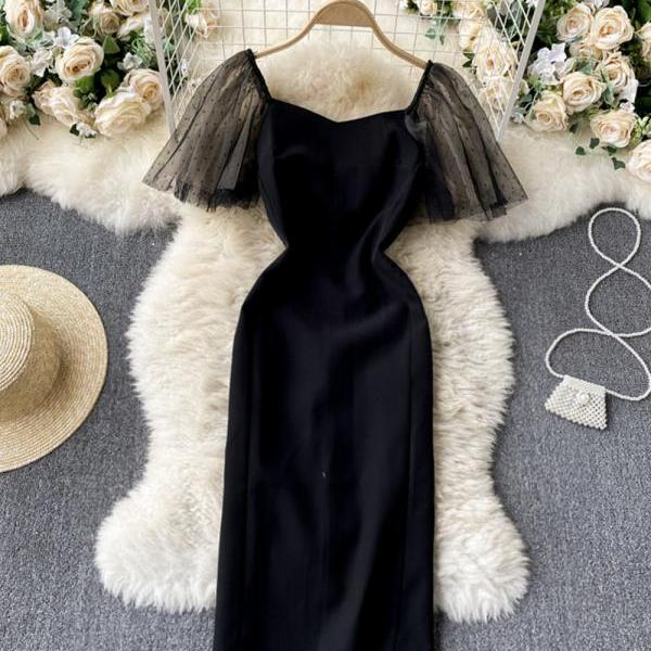Simple black short dress fashion dress