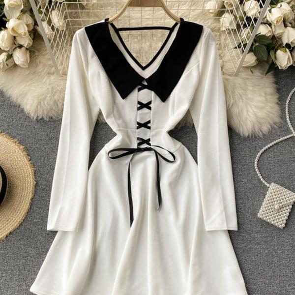 Cute v neck short dress fashion girl dress