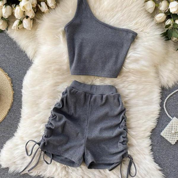 Two pieces sets one shoulder tops + shorts