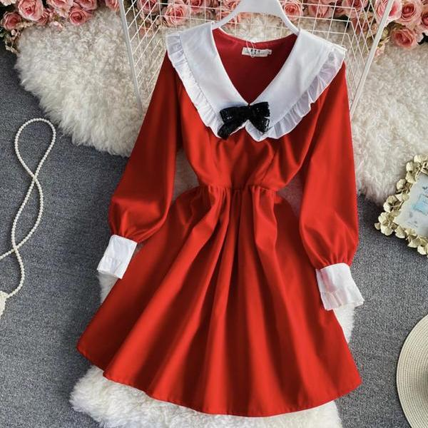 Cute A line long sleeve dress fashion dress
