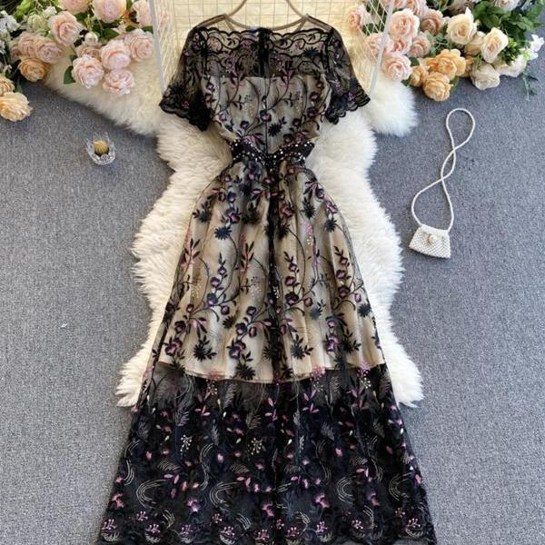 Elegant A line lace long dress