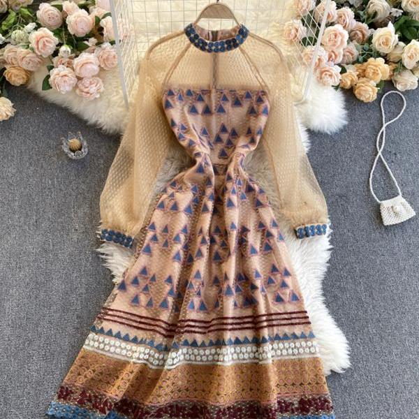 High quality A line long sleeve dress